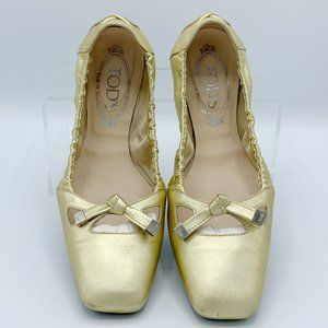 Tod's Degas Gold Leather Ballet Flats